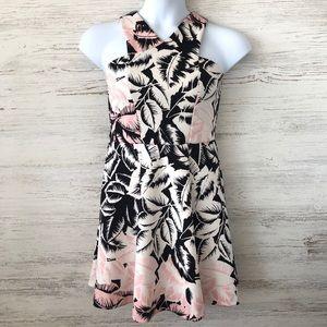 EXPRESS Leaf Print Scuba Fit & Flare Dress